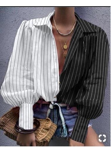 BLACK&GRACE Bayan Sıyah Beyaz Cızgılı Gömlek Siyah